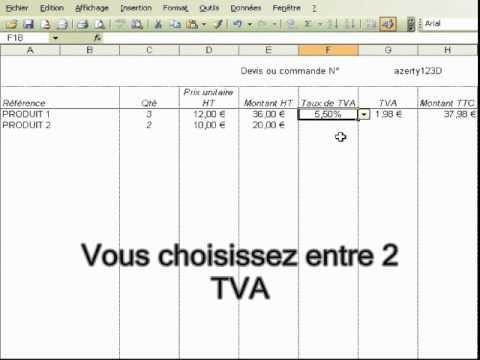 1001tableurs Facture Avec Tva 55 Ou 196 Pour Excel