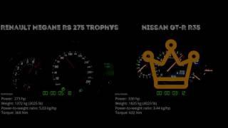 Renault Megane RS 275 Trophy vs. Nissan GT-R R35 - the 0-100 km/h d...