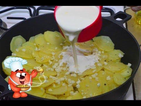 Картошка в сливках на сковороде-видео рецепт