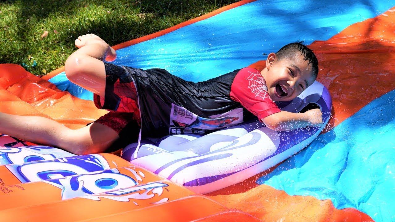 Crazy Fun Water Slide Surfing Kids Backyard Playtime With