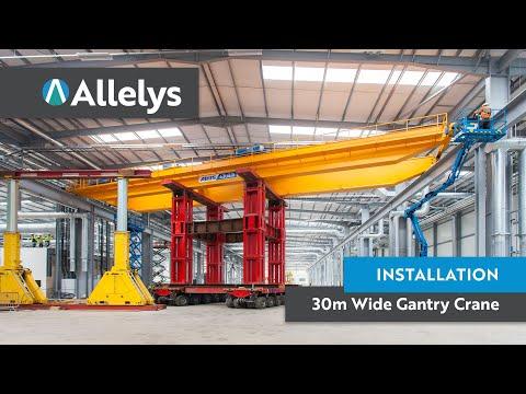 Big factory installation of 30m wide Gantry Cranes Telford