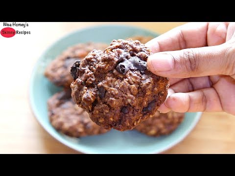 Eggless & Vegan Chocolate Chip Oatmeal Cookies - Oats Recipes For Weight Loss | Skinny Recipes