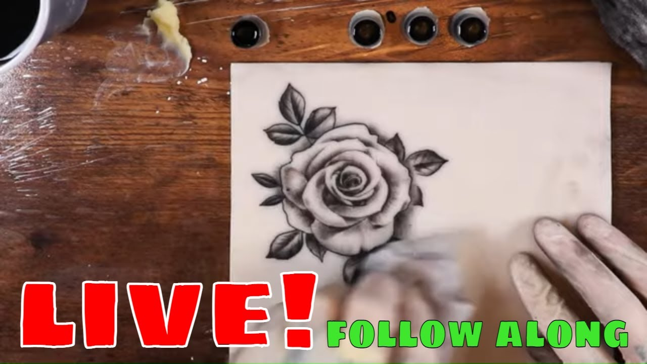 Download ✔live tattoo✔ Rose with leaves follow along
