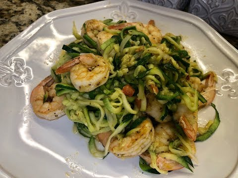Zucchini Pasta with Shrimp and Avocado Pesto