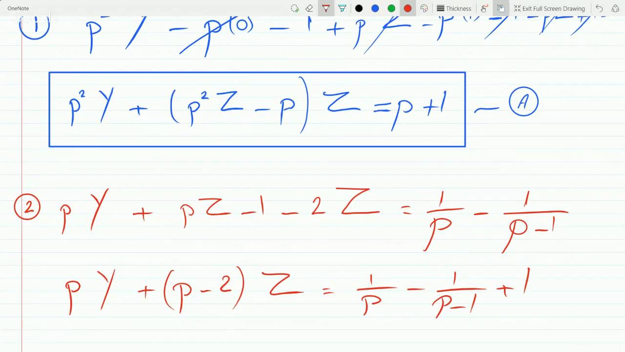 Solving a System of Differential Equations using Laplace Transform Example  12815