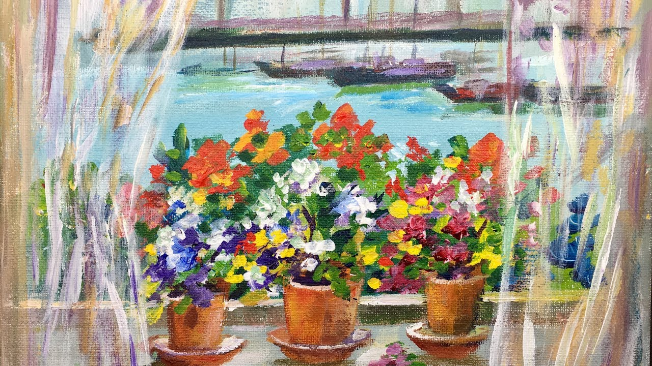 Flower Art Painting Acrylic Step By Step