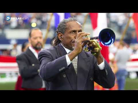 Watch Freddie Jones play the National Anthem before the Dallas Cowboys vs LA Rams game