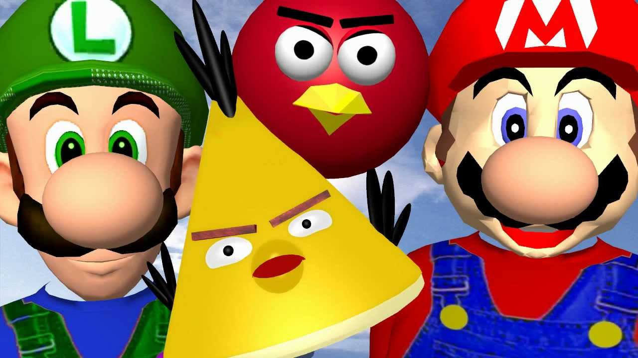 When MARIO plays ANGRY BIRDS ♫ 3D animated game mashup ...