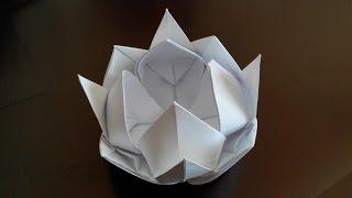 кАК СДЕЛАТЬ ИЗ БУМАГИ  цветок лотоса , лотос из бумаги сделать