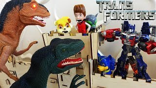 #Трансформеры 5 Динозавры vs Трансформера Оптимуса Прайма Щенячий Патруль Мультики для детей Игрушки