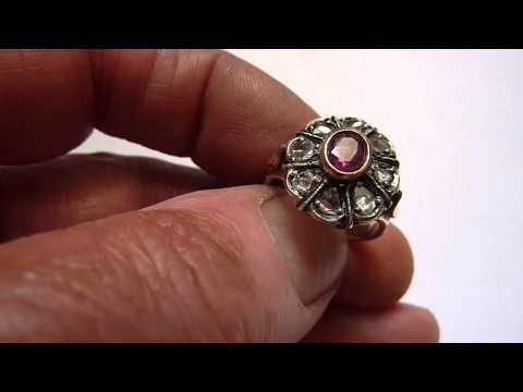 Large Antique Russian 10ct Gold, Diamond & Ruby Ring. Size. O/P