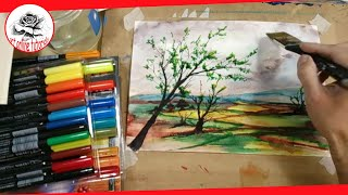 Watercolor Landscape with Lyra Aqua Brush Duo | Landscape Painting