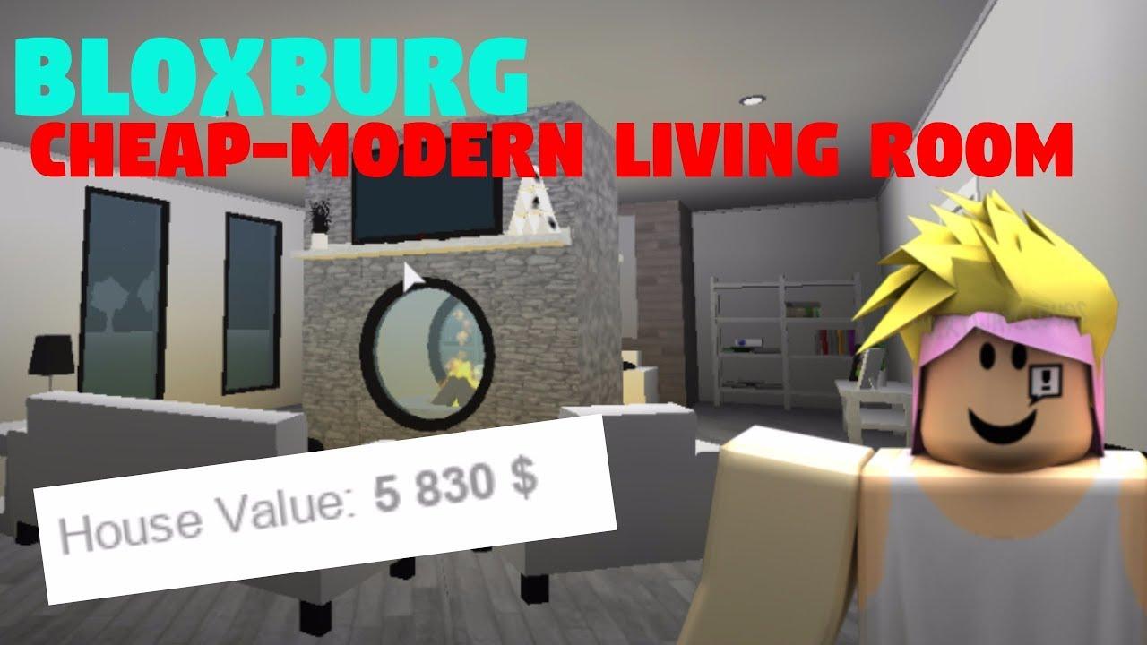 BLOXBURG || CHEAP-MODERN LIVING AREA || SPEEDBUILD - YouTube
