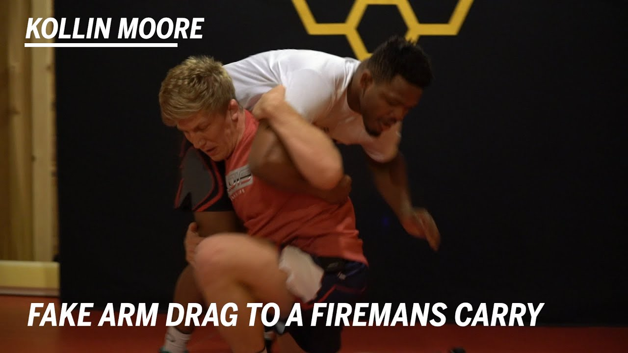 Fake Arm Drag to a Firemans Carry: Wrestling Moves with Kollin Moore | RUDIS