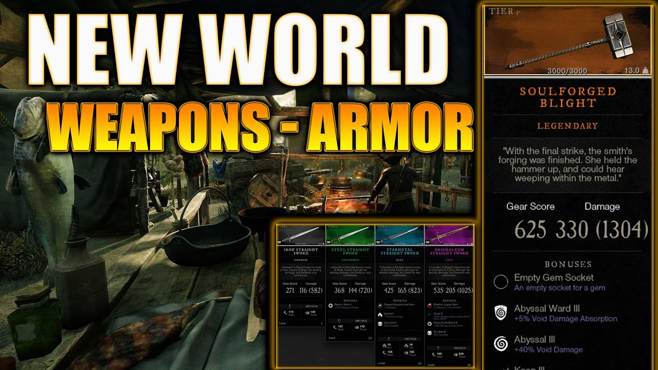 Amazon's New World MMO - Weapons, Armor, Potions, Legendary Items, & More! Items in New World MMO!