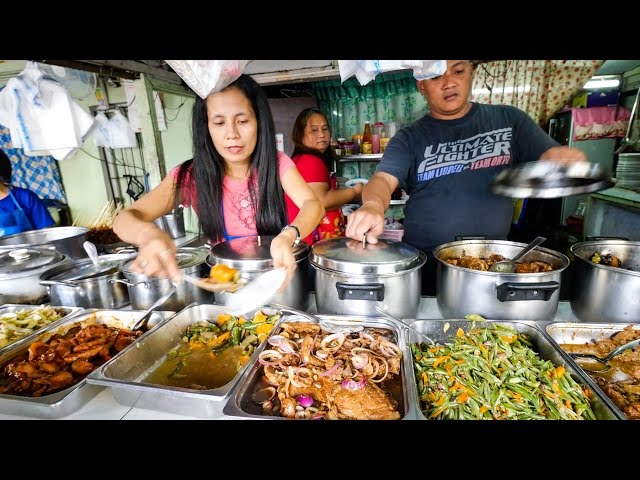 Philippines Street Food - AMAZING Filipino Food at Aling Sosings Carinderia in Manila!