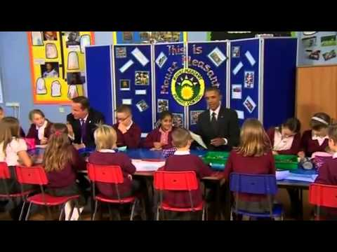 Obama and Cameron Visit Welsh Primary School