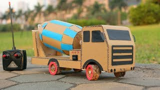 How to make RC Cement Mixer Truck at home From Cardboard - Mr H2 Diy Remote Control Truck