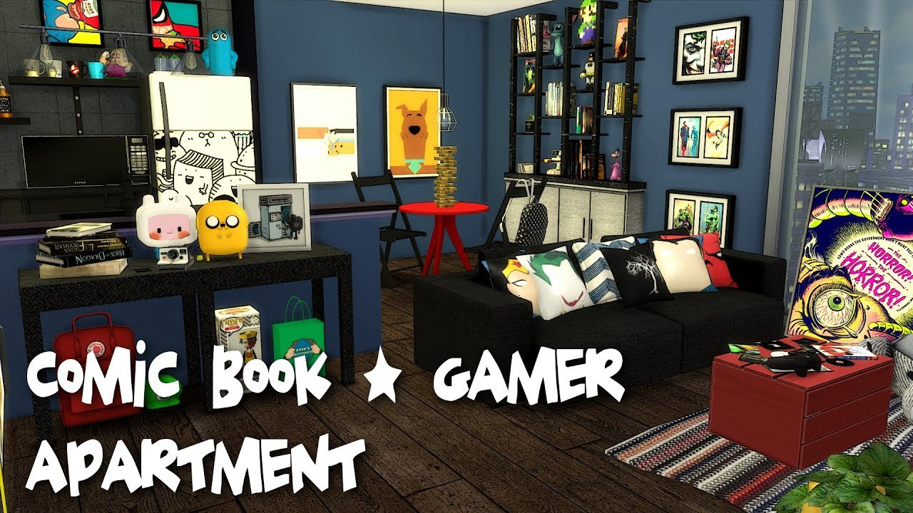 The Sims 4: Speed Build // COMIC BOOK/GAMER APARTMENT + CC Links