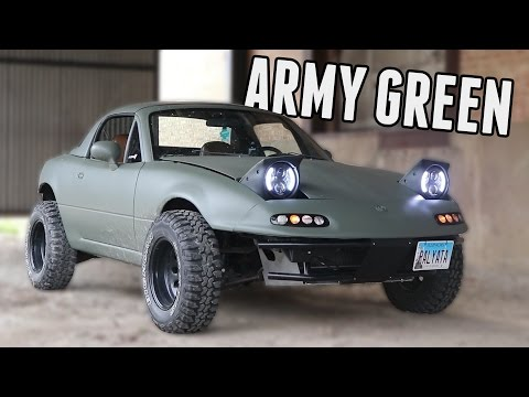 Rally Miata Gets Plasti-Dipped Army Green!
