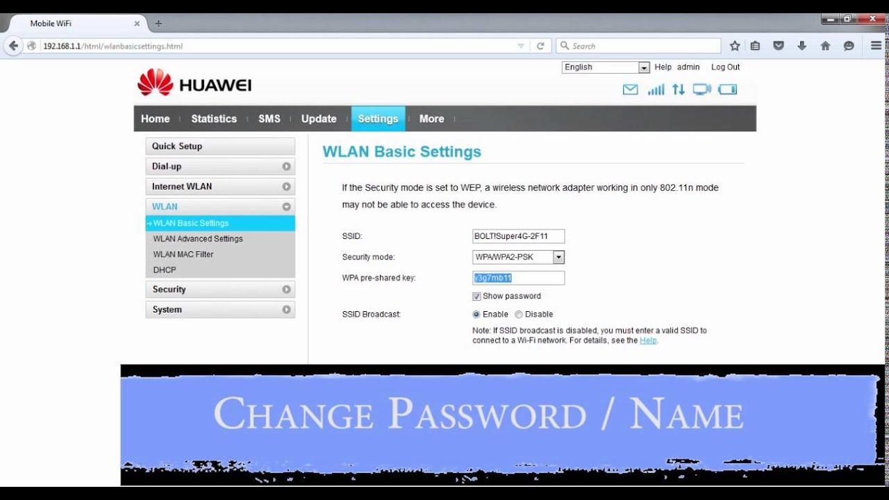 How To Change Huawei Mobile Wifi e5372s Password