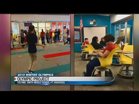 Colonel Smith Middle School students work on Winter Olympic project