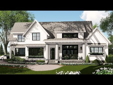 Architectural designs modern farmhouse plan 14662rk for Modern farmhouse floor plans