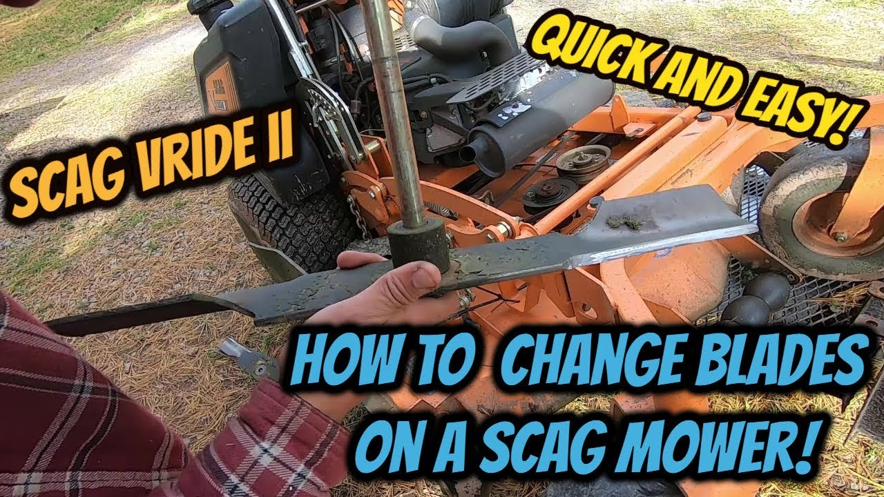 How To Change Blades On A Scag Mower! Scag Vride II Blade Change