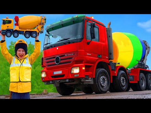 Kids Pretend Play with Concrete Mixer | Learn Colors Stories with Toys