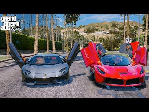 GTA 5 REAL LIFE MOD#93-LAFERRARI VS LAMBORGHINI STREET RACE