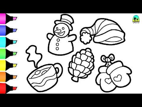 Color Christmas Pictures To Draw.How To Draw And Color Christmas Items I Fun Colouring Videos For Children