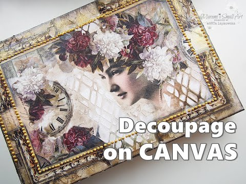 collage-decoupage-canvas-using-rice-paper-&-magazine-cut-outs-tutorial-♡-maremi's-small-art-♡