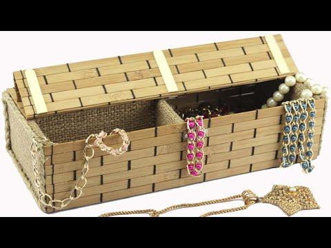 How to Make Jewelry Box using Sushi Rolling Mat, Jute Rope, Jute Cloth, Ice Cream Sticks & Cardboard