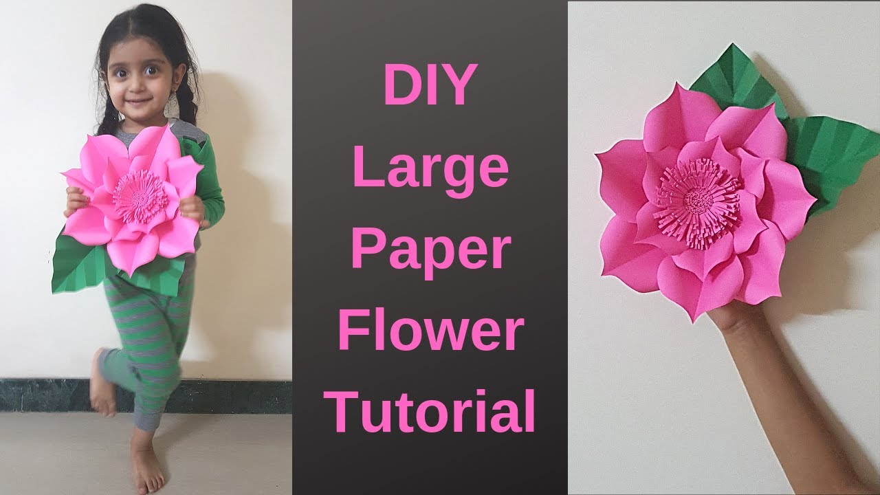 Giant Paper Flowers Tutorial Easy Large Size Paper Flower For Wall Decor Template Free