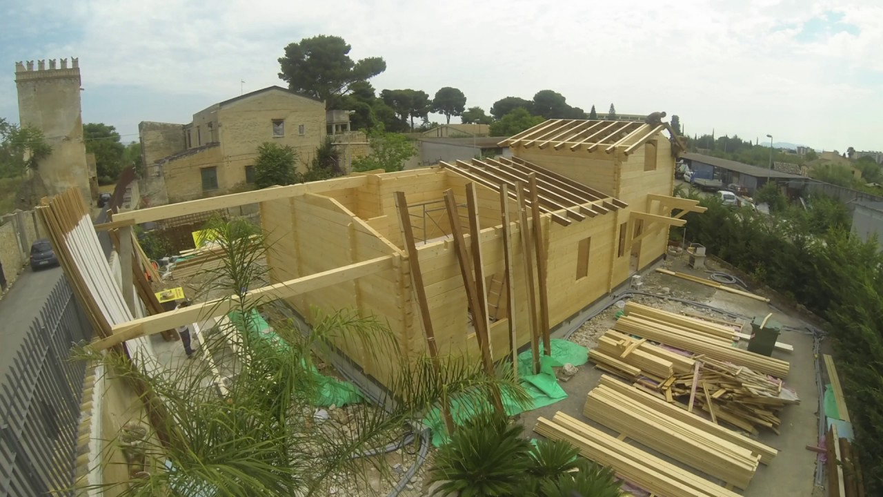Montaggio Bungalow In Legno Blockhouse 100mm Tecnowood Youtube