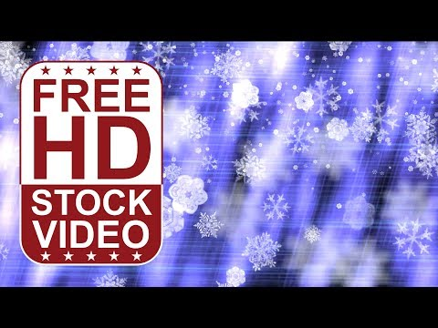 FREE HD video backgrounds – abstract animated snowflakes falling on blue lights background 2D animat