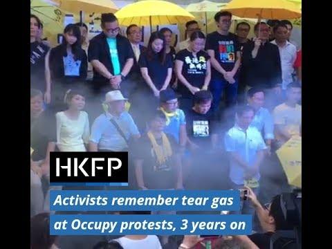 Hong Kong democracy acvitists 'recreate' tear gas at Umbrella Movement protests, 3 years on