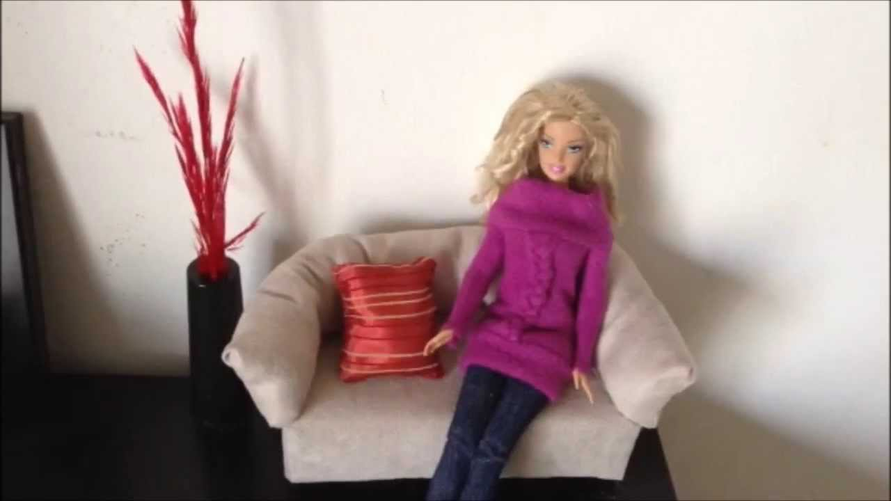Como hacer un sofa para mu ecas barbie monster high youtube for Muebles para barbie