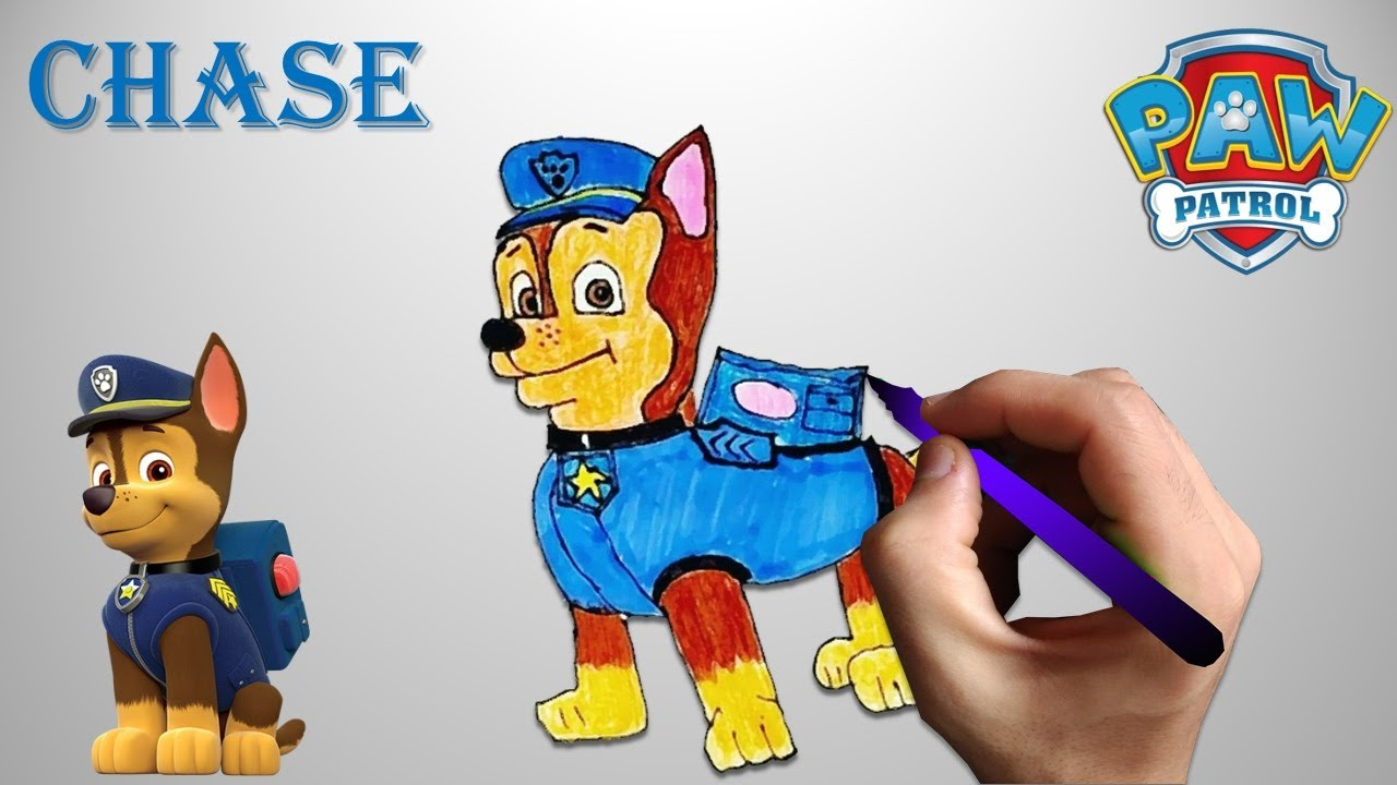 dessin coloriage chase paw patrol paw patrouille youtube. Black Bedroom Furniture Sets. Home Design Ideas