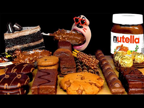 mukbang-chocolate-desserts,-초콜릿-디저트-먹방,-ช็อคโกแลต,-sô-cô-la,-チョコレート,-cokelat-eating-sounds
