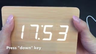 JCC Rectangle Wood Grain LED Desk Clock unboxing and review - 6015