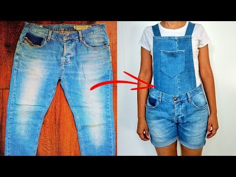 RECICLAR JEANS - OVEROL/BRAGA DE JEANS VIEJOS - DIY: REUSE/ RECYCLE OLD JEANS