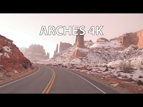 Arches National Park 4K - Winter Sunrise - Scenic Drive - USA