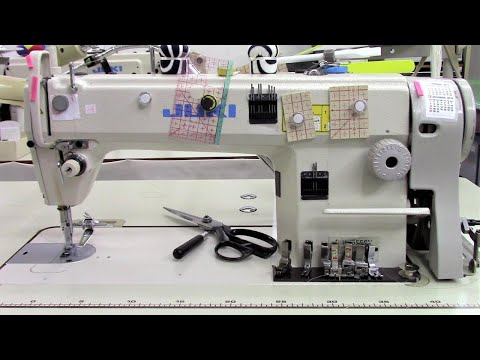 How to use a JUKI industrial sewing machine - sewing a jeans pocket 工業用JUKIミシンの使い方
