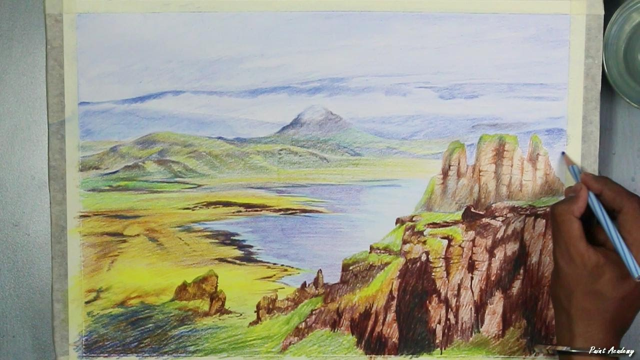 How to Paint A Mountain Landscape in Watercolor Pencil ...