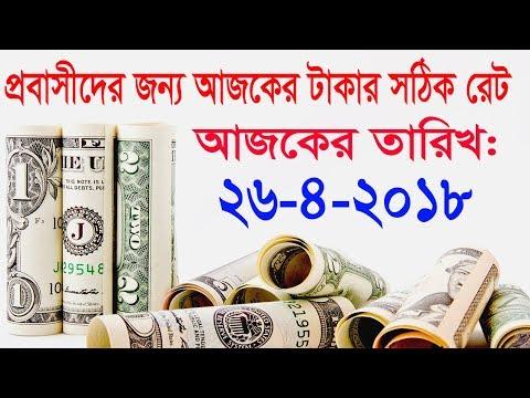 দুবাই সহ অন্যান্ন দেশের আজকের টাকার রেট। Today Money Rate 26-4-2018.