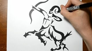 How to Draw a Tribal Centaur - Sagittarius Tattoos