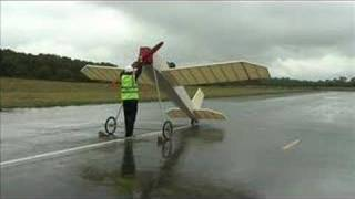 Jetstream - Maiden Flight Of Rubber Band Powered Glider At Dunsfold Park