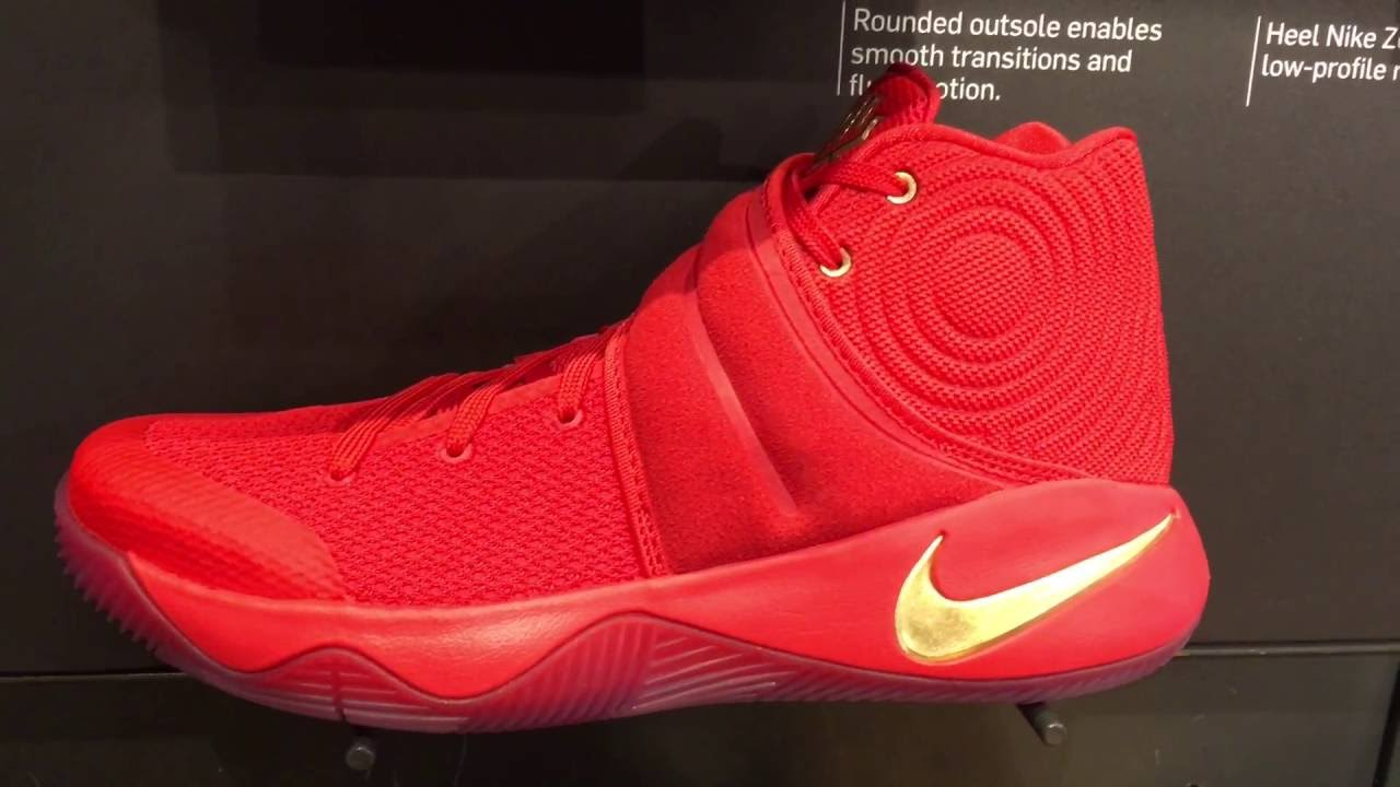 afdaf5b8d01 KYRIE IRVING 2 RED AND GOLD UP CLOSE AND PERSONAL - YouTube