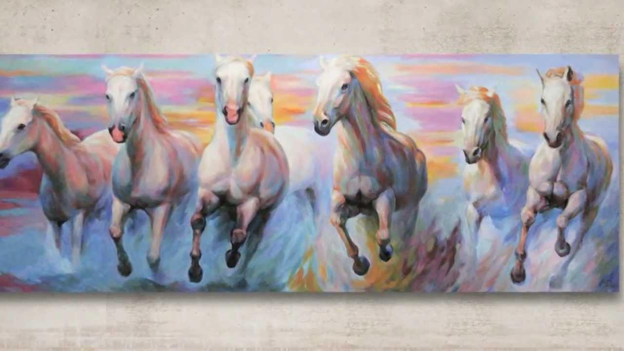 White Horses Running Original Painting By J O Art Studio Cologne